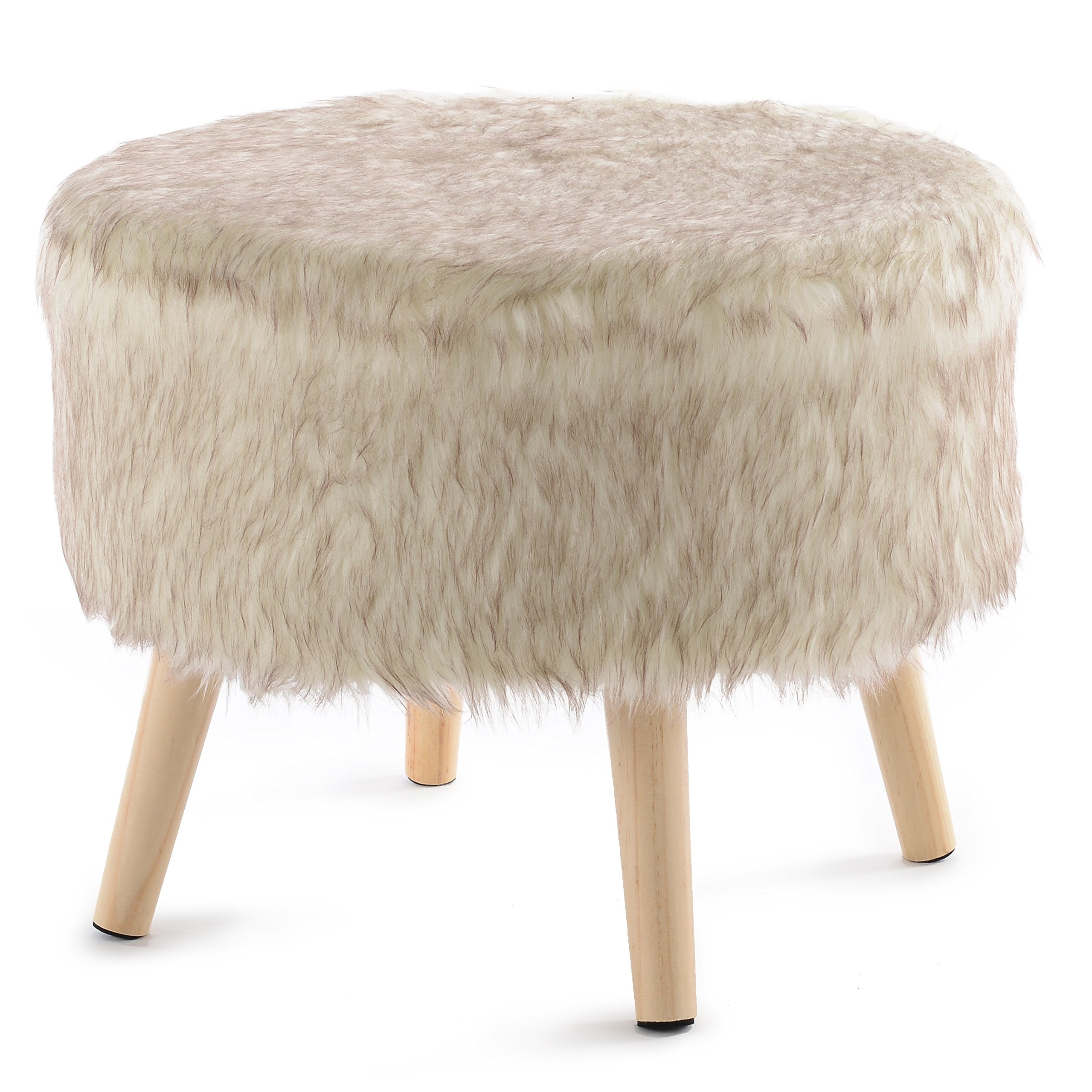 Cheer Collection 17'' Round Ottoman | Super Soft Decorative Tan Wolf Faux Fur Foot Stool with Wood Legs
