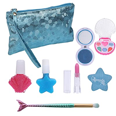DRESS 2 PLAY Pretend Play Makeup Mermaid Fairy Ocean Themed Cosmetic Set with Blue Sea Pebbled Metallic Bag and Mermaid Tail Brushes for Little Mermaid Girls, Washable Non Toxic Makeup Set: Toys & Games