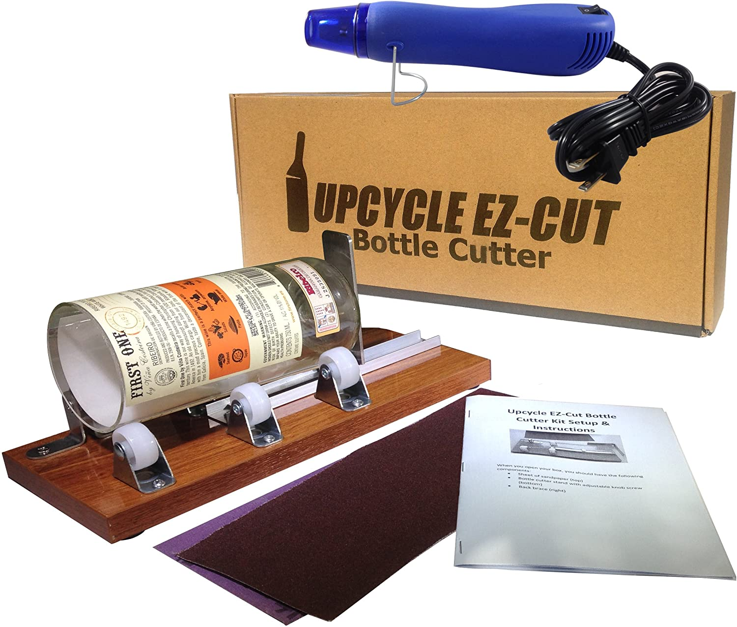 Glass Bottle Cutter (Deluxe) Kit, Upcycle EZ-Cut: Beer & Wine Bottle Cutting + Edge Sanding Paper & Heat Tool First Place Products