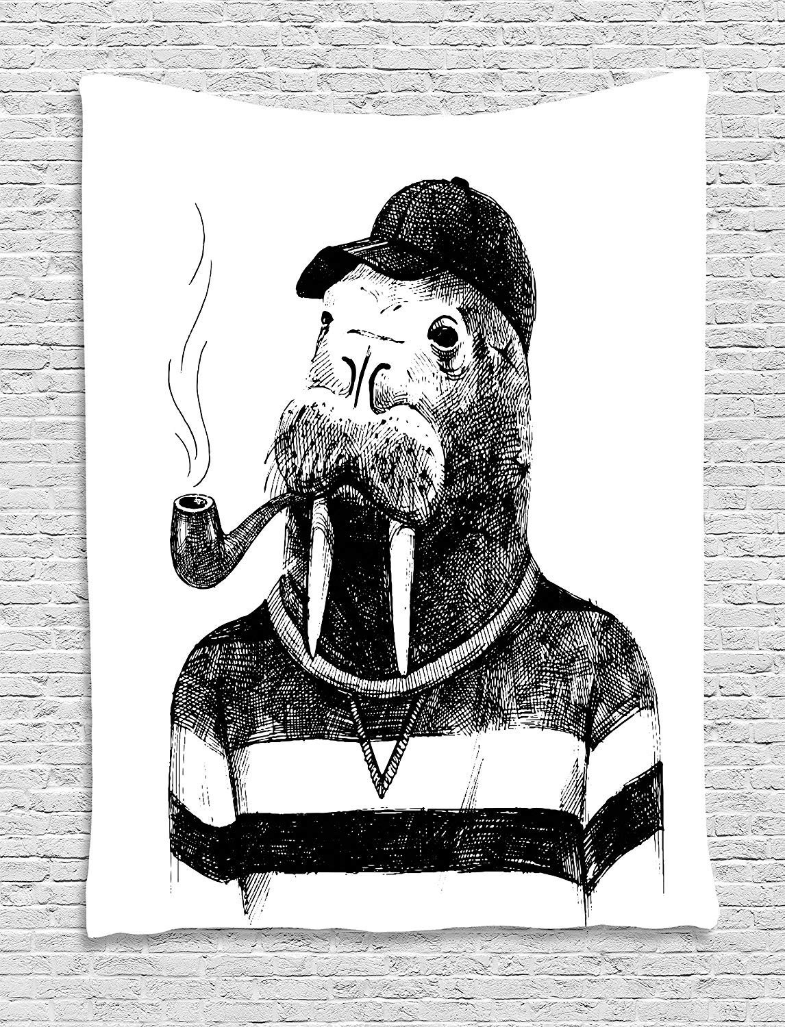XHFITCLtd Indie Tapestry, Hand Drawn Dressed Up Walrus Animal Long Teeth Smoking Pipe Antromorphic Sketch Art, Wall Hanging for Bedroom Living Room Dorm, 60 W X 80 L Inches, Black White