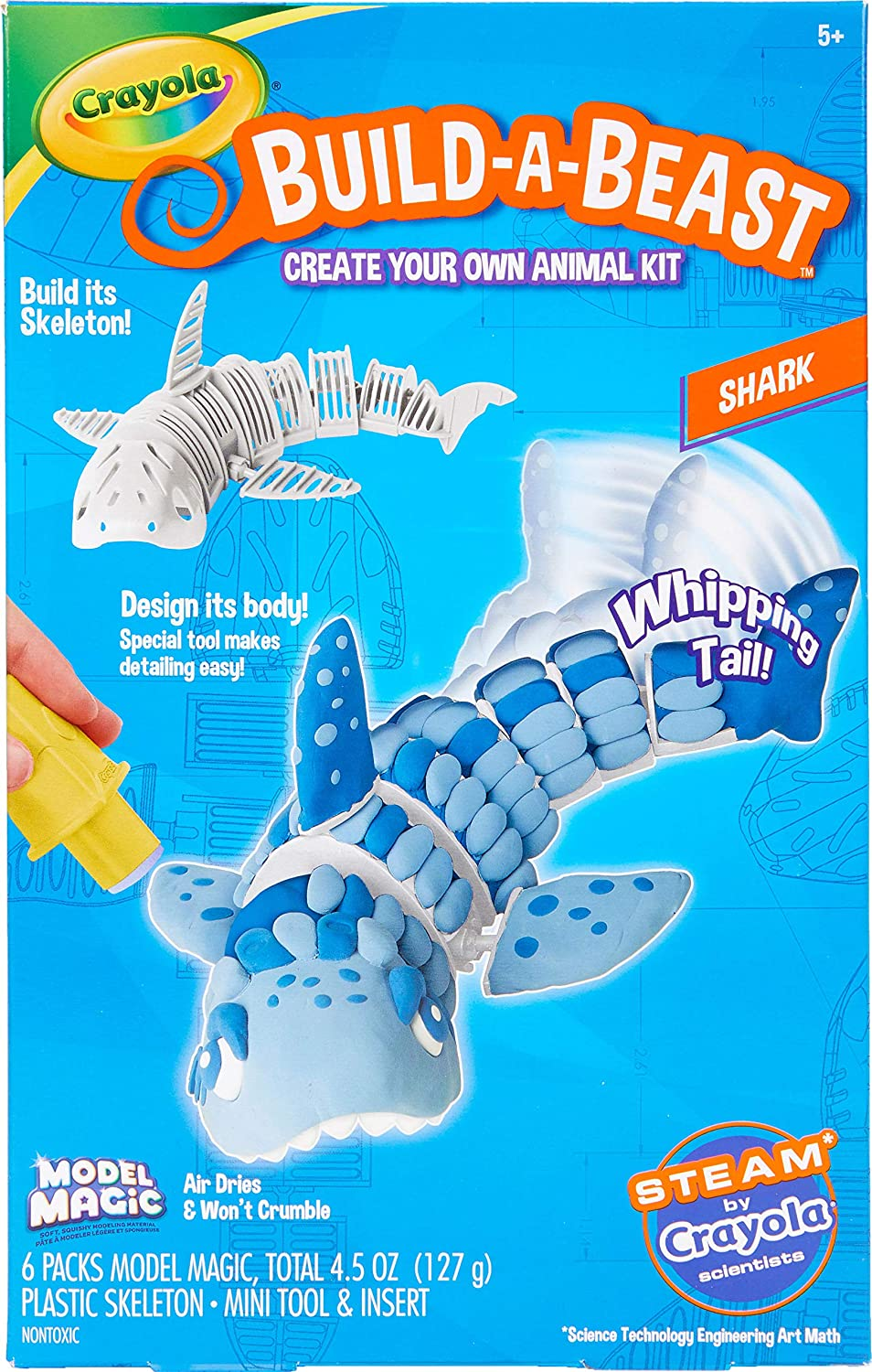 Crayola Build A Beast Shark, Model Magic Craft Kit, Steam/ Stem Learning Toys, Gift for Kids, 5, 6, 7, 8
