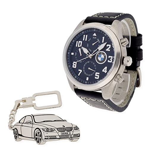 Conjunto de reloj de caballero S&S para BMW con caja de acero resistente y llavero de