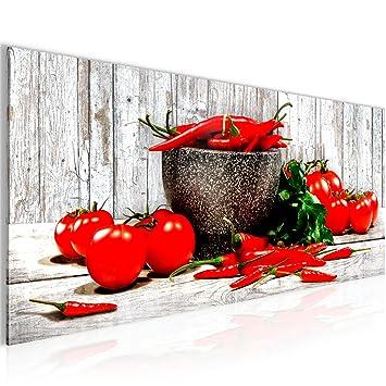 Bilder Küche - Gemüse Wandbild 100 x 40 cm Vlies - Leinwand Bild XXL Format  Wandbilder Wohnzimmer Wohnung Deko Kunstdrucke Rot 1 Teilig - Made IN ...