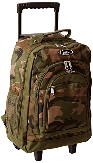 Everest Woodland Camo Wheeled Backpack, Camouflage, One Size
