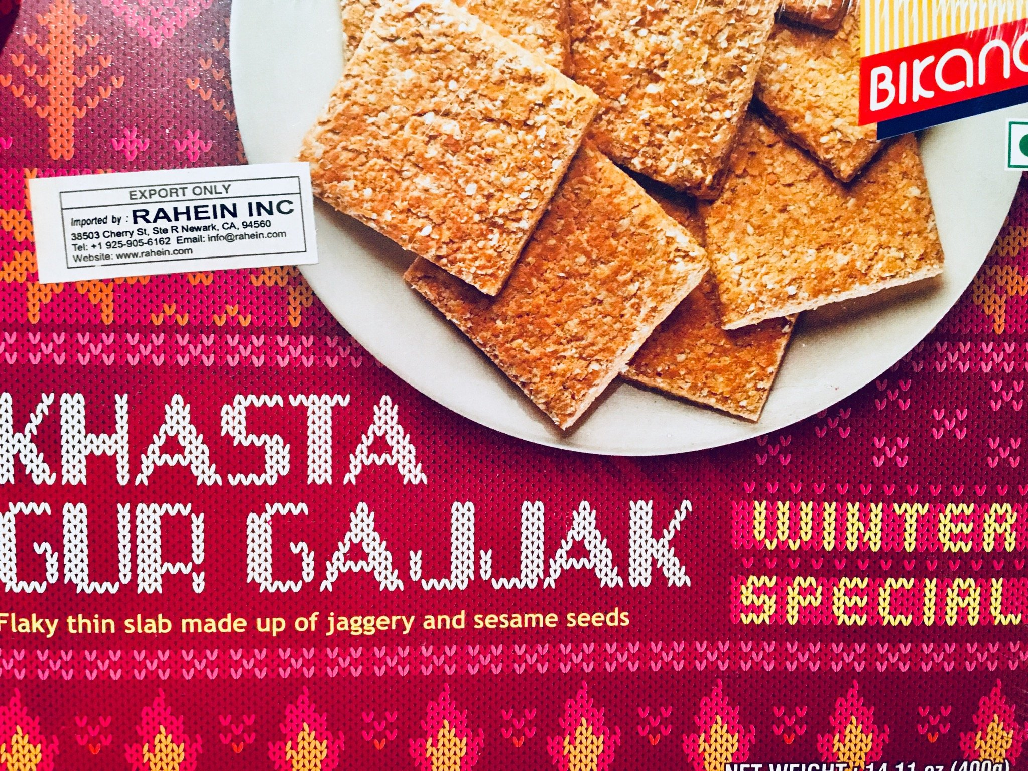 Bikano Khasta Gur Gajak Winter Special 2 Pack Indian Ready to eat Sweets -14.11 Oz by Bikano