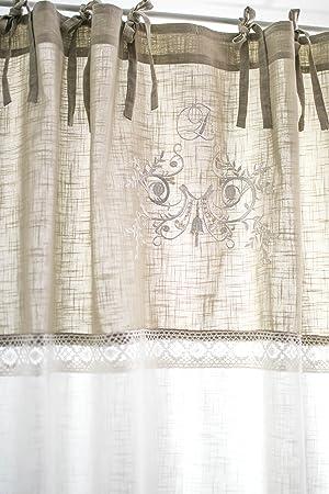 Flora offwhite bestickt Vorhangset mit Spitzenborte 2x(120x250cm) Vorhänge  Vorhang Gardinen Shabby Chic Vintage Landhaus Franske Leinenoptik