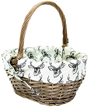 Amazon small east2eden antique brown willow wicker small east2eden antique brown willow wicker traditional shopping easter basket with stag liner negle Gallery