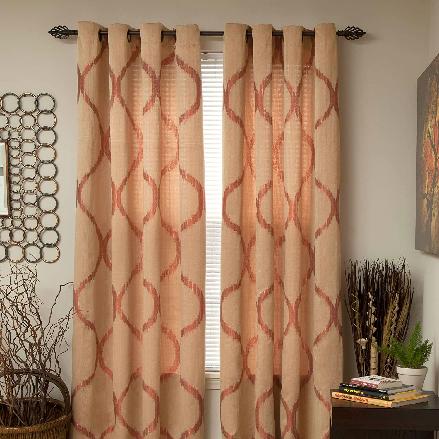 Lavish Home Metallic Grommet Curtain Panels, 84-Inch, Apricot