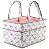Large Baby Diaper Caddy Organizer: Storage for Diapers, Wipes & More (pink)