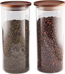 Essos Glass Jars with Wood Lids Set of (2) 54 fl oz Airtight and Stackable Storage Containers for the Kitchen or Pantry Canister holds Food Cookies Coffee Pasta