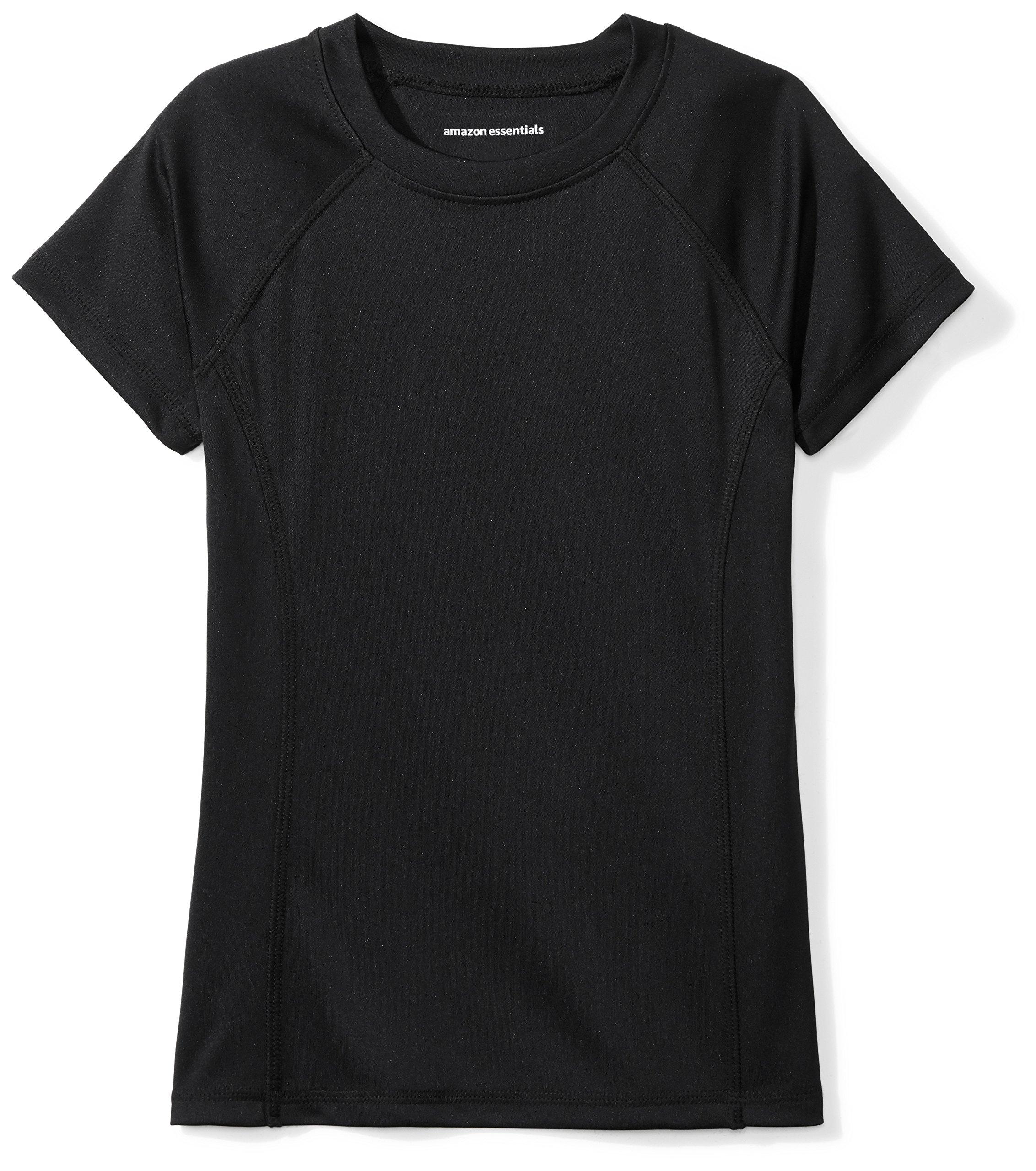 Amazon Essentials Girls' Swim Tee, Jet Black, XL (12)