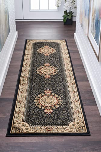 Jayden Traditional Oriental Black Runner Rug, 2 x 7
