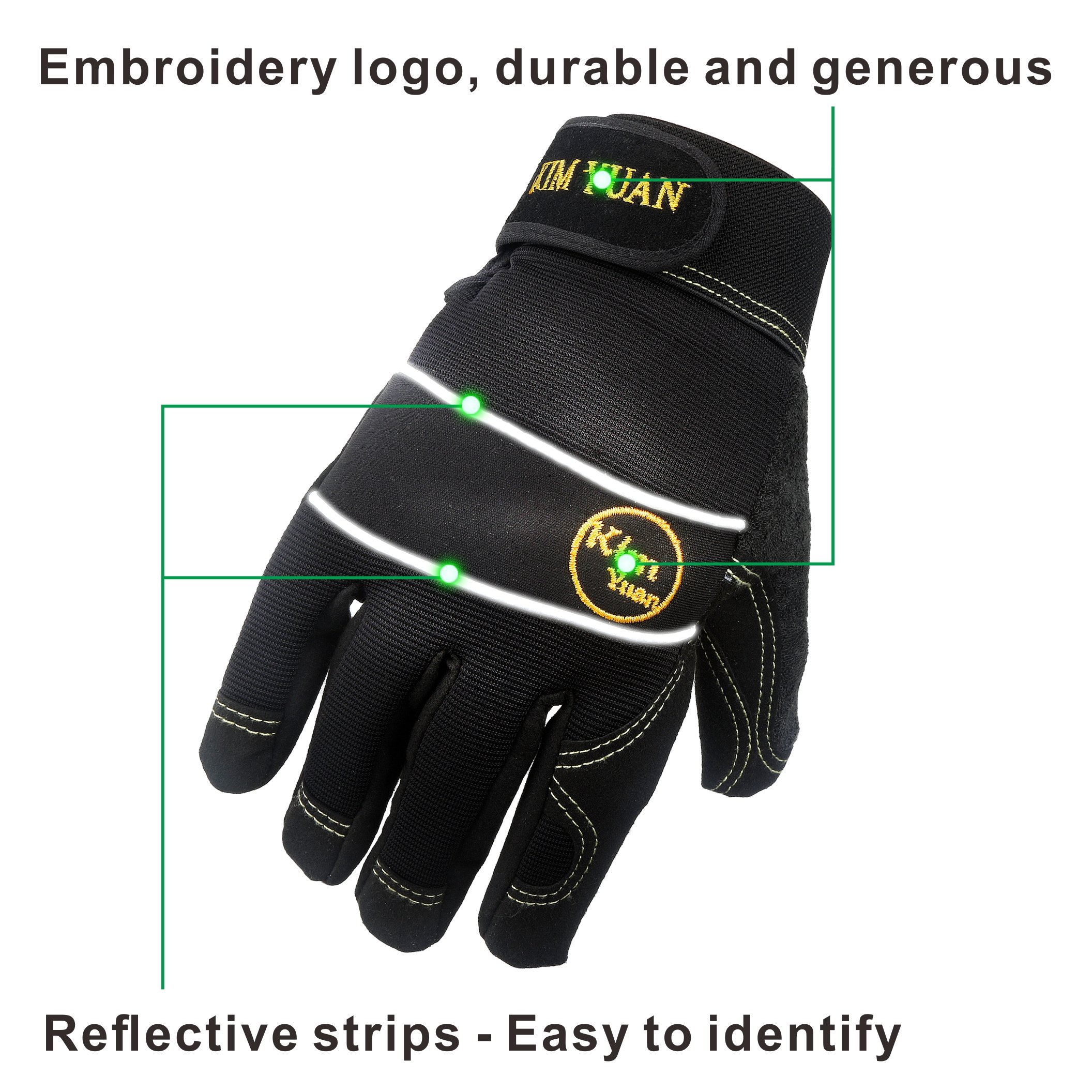 KIM YUAN Mechanic General Utility Breathable Work Gloves Touch Screen, Skid/Abrasion Resistant, Pefect for Warehouse, Construction, Outdoor, Men & Women, XL by KIM YUAN (Image #3)