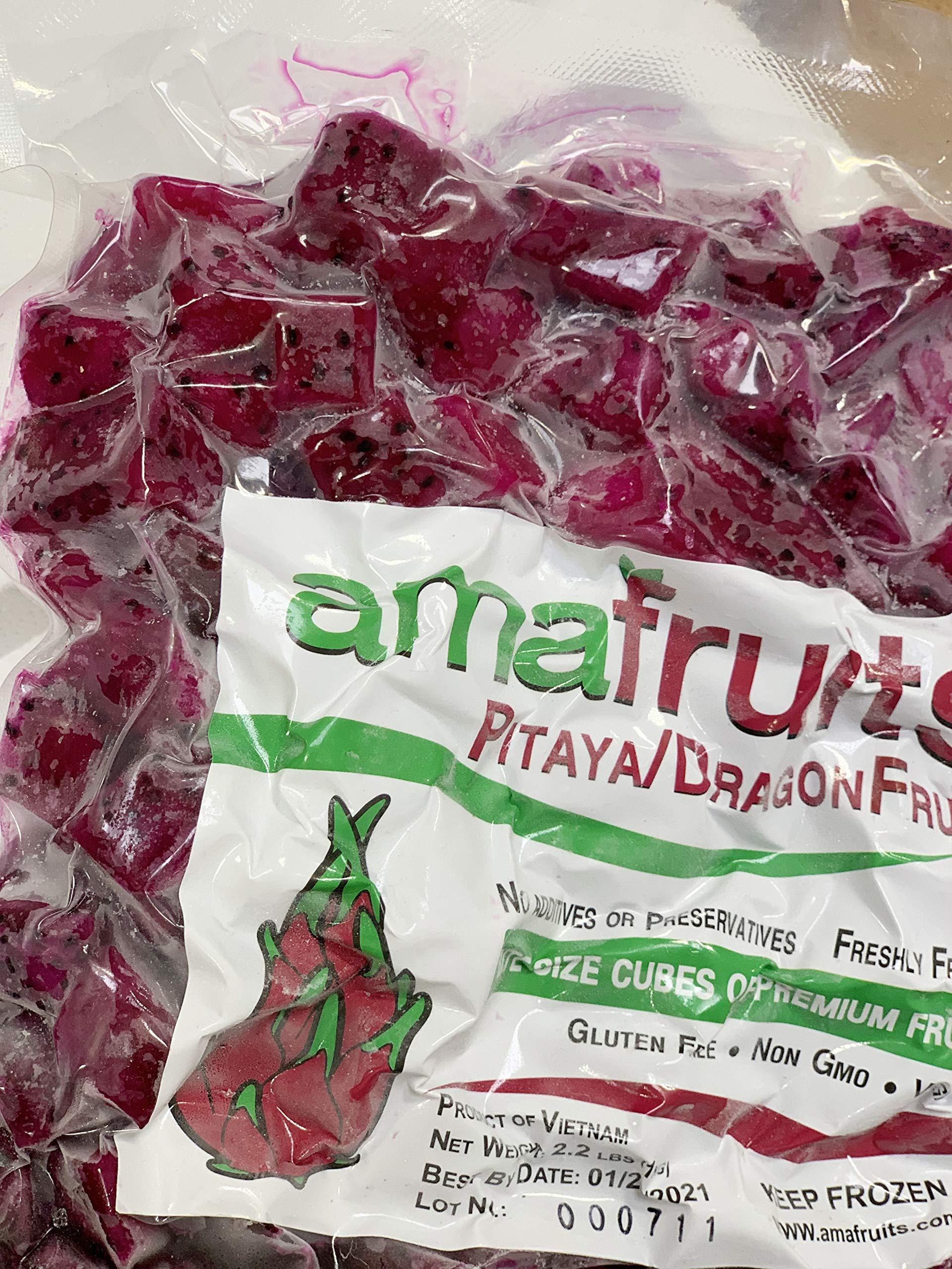 Dragon Fruit (Pitaya) Premium Frozen Bite Size Cubes by Amafruits (Image #2)