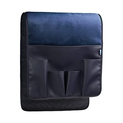 BCP Dark Blue Color Velvet Sofa Couch Chair Armrest Soft Caddy Organizer  Holder For Remote Control