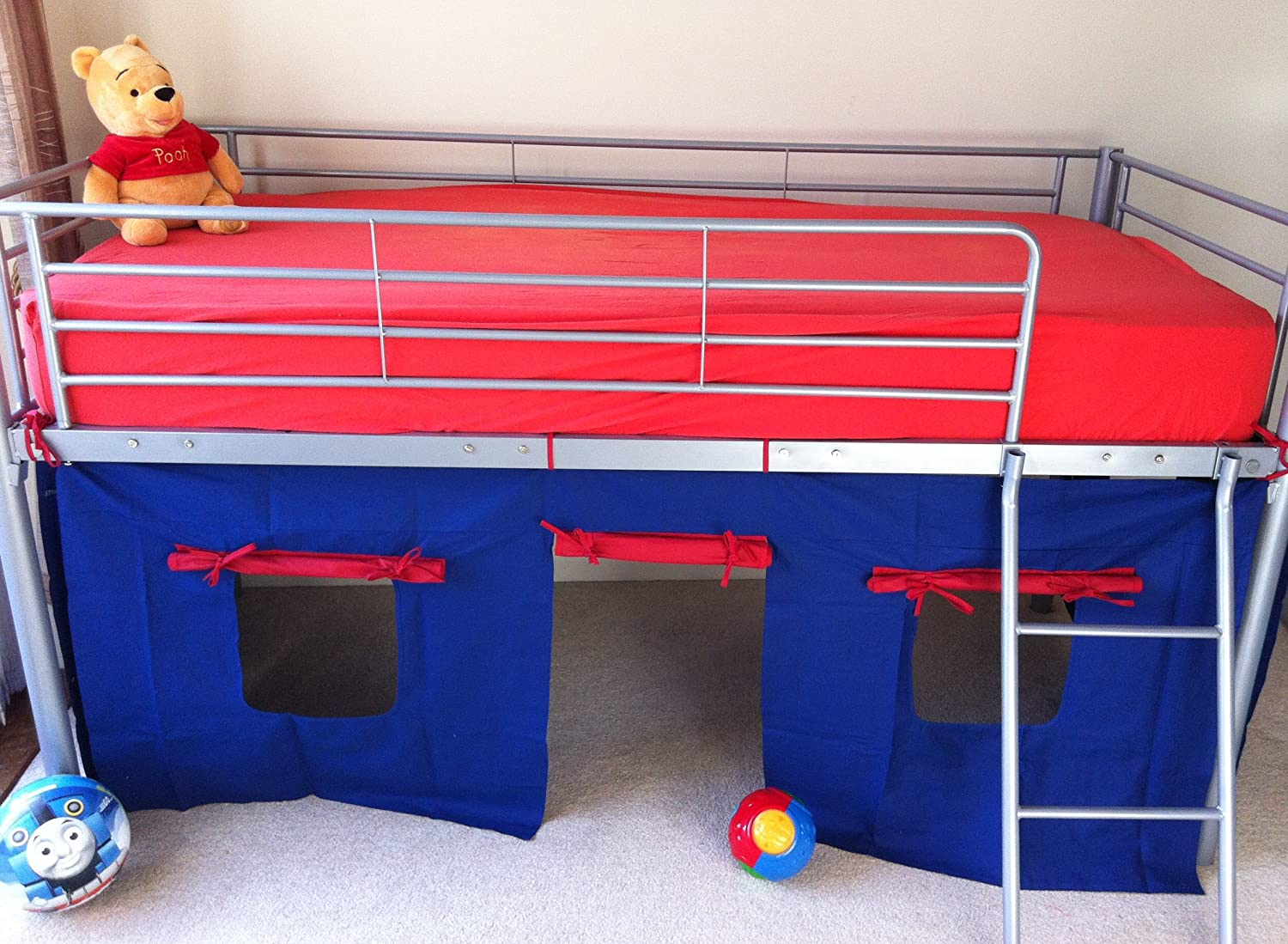COSY STARS METAL MID SLEEPER CABIN BUNK BED WITH FUN PLAYFUL TENT BLUE RED Amazoncouk Kitchen Home