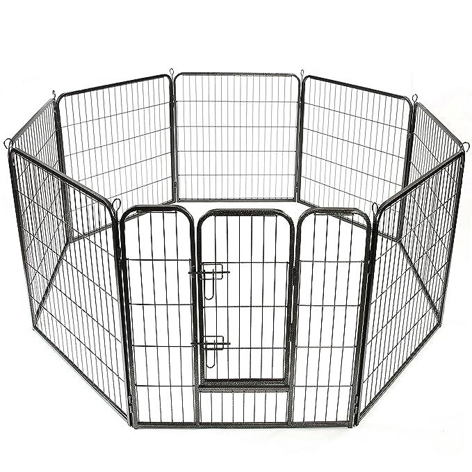 TRESKO® Parc enclos pour chiot, Vaste enclos, Parc à chien, utilisable en dehors, au jardin ou dans la maison, pour Chiens Chiots Animaux de compagnie, Clôture mobile pour chats et d'autres animaux de compagn