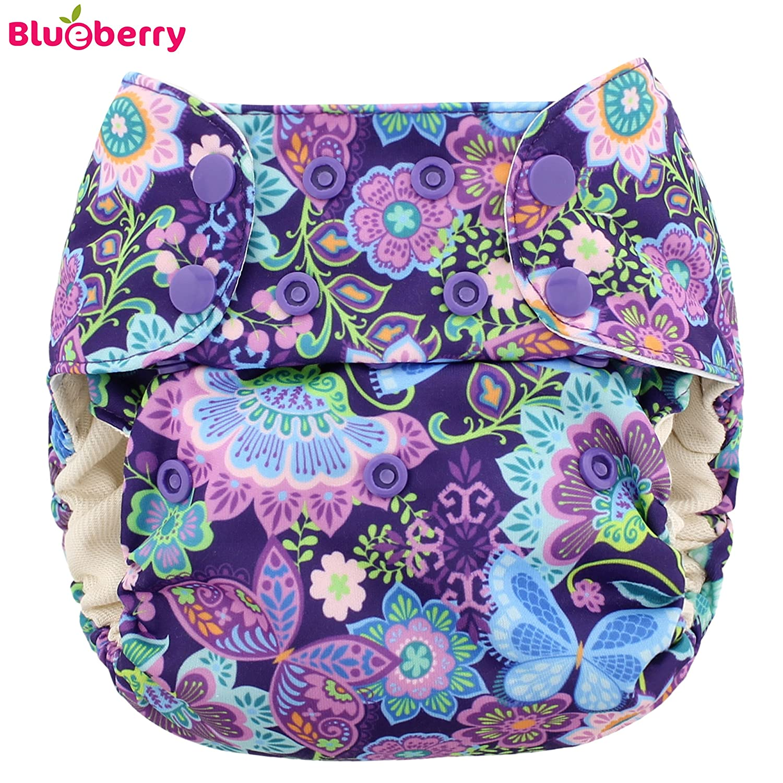 Blueberry Simplex One size (AIO) plastique Couche–Butterfly Garden (pression Gravier)–Taille Unique (5,5–16kg)–Plastique Pantalon pour couches, couvre-couche, convient Prefolds