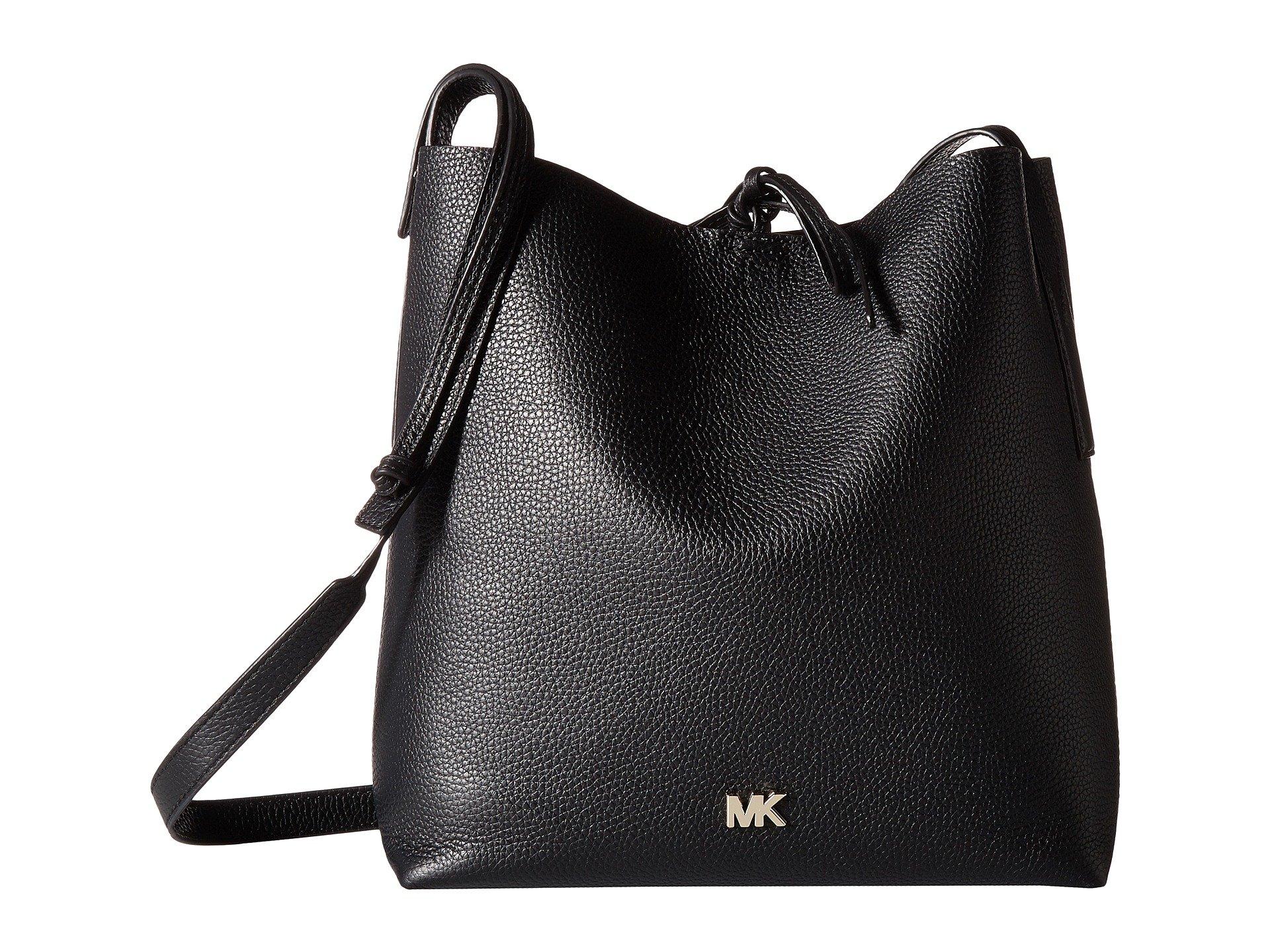 MICHAEL Michael Kors Junie Large Pebbled Leather Messenger - Black