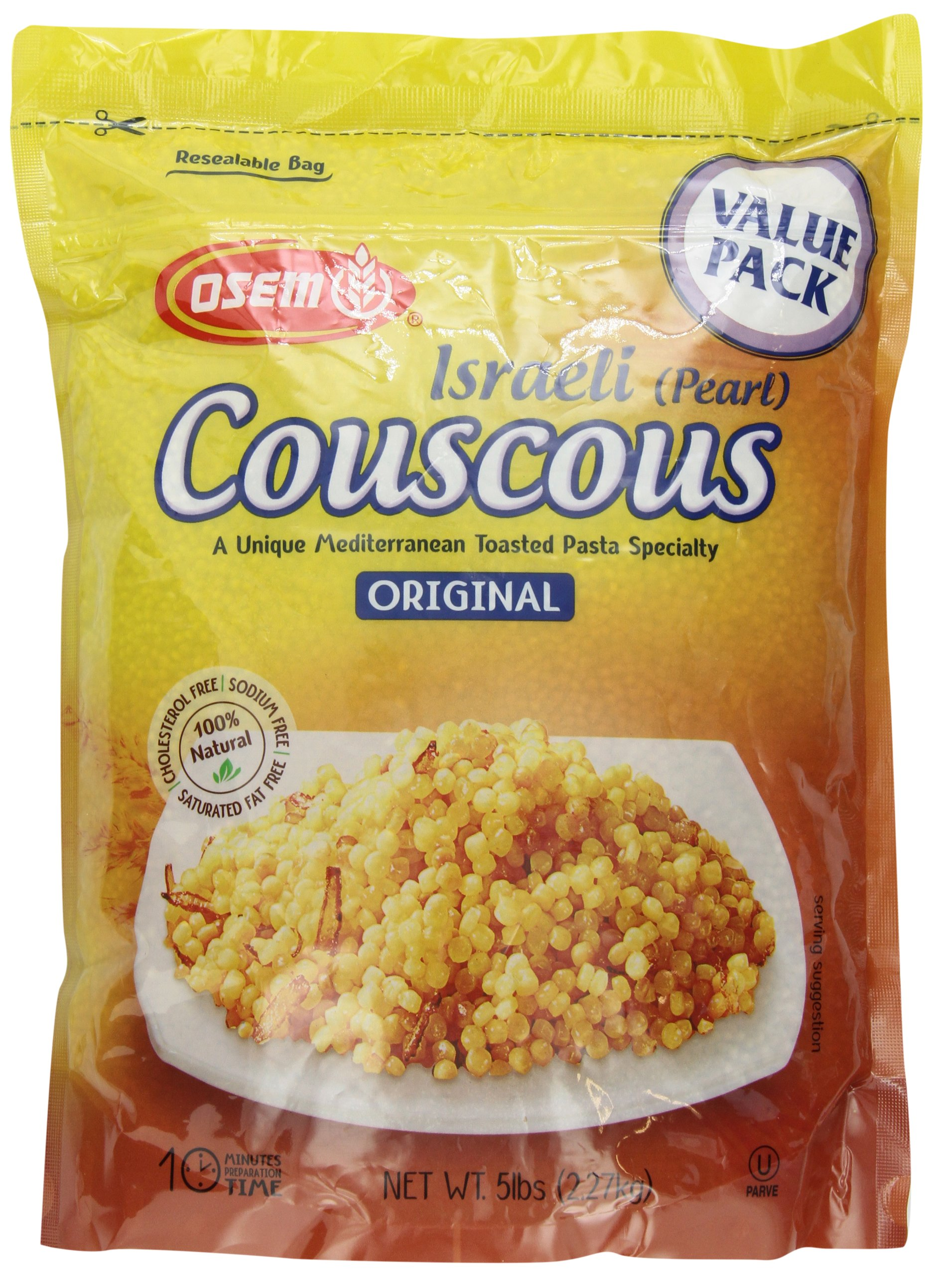 The Original Israeli Couscous by Osem Pearl Couscous 5lb/80oz Resealable Bag