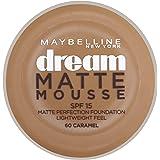 Maybelline Dream Matte Mousse 60 Caramel 18ml Cazuela Crema - base de maquillaje (Caramel, Piel Oscura, Piel mixta, Piel normal, Piel grasosa, Mujeres, Cazuela, Crema)