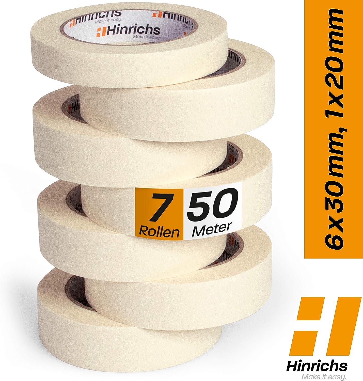 Hinrichs - Cinta Carrocero Pintura Pack - Cinta de Pintor o Carrocero 6 Rollos 50m x 30mm y 1 Rollo de 50m x 20mm - No Deja Residuos - Excelente Adhesión Cohesión y Tack