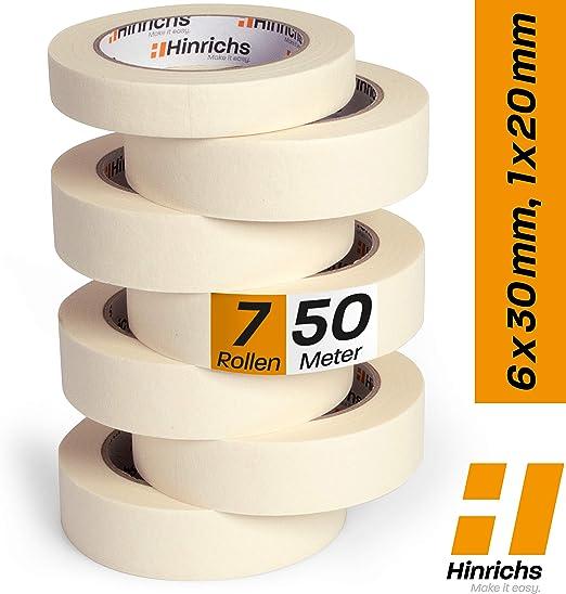 Hinrichs - Cinta Carrocero Pintura Pack - Cinta de Pintor o Carrocero 6 Rollos 50m x 30mm y 1 Rollo de 50m x 20mm - No Deja Residuos - Excelente Adhesión Cohesión y Tack: Amazon.es: Hogar