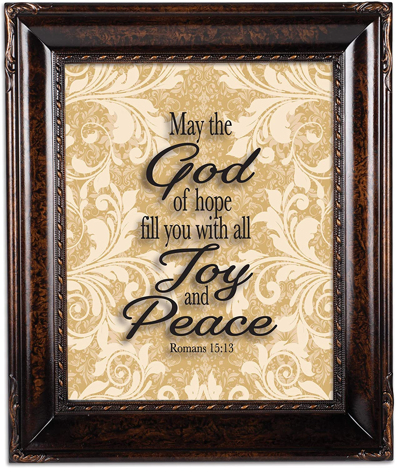 Cottage Garden Joy and Peace Burlwood Rope Trim 8 x 10 Table Top and Wall Photo Frame