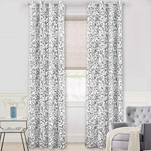 DriftAway Julia Watercolor Blackout Room Darkening Grommet Lined Thermal Insulated Energy Saving Window Curtains 2 Layers 2 Panels Each Size 52 Inch