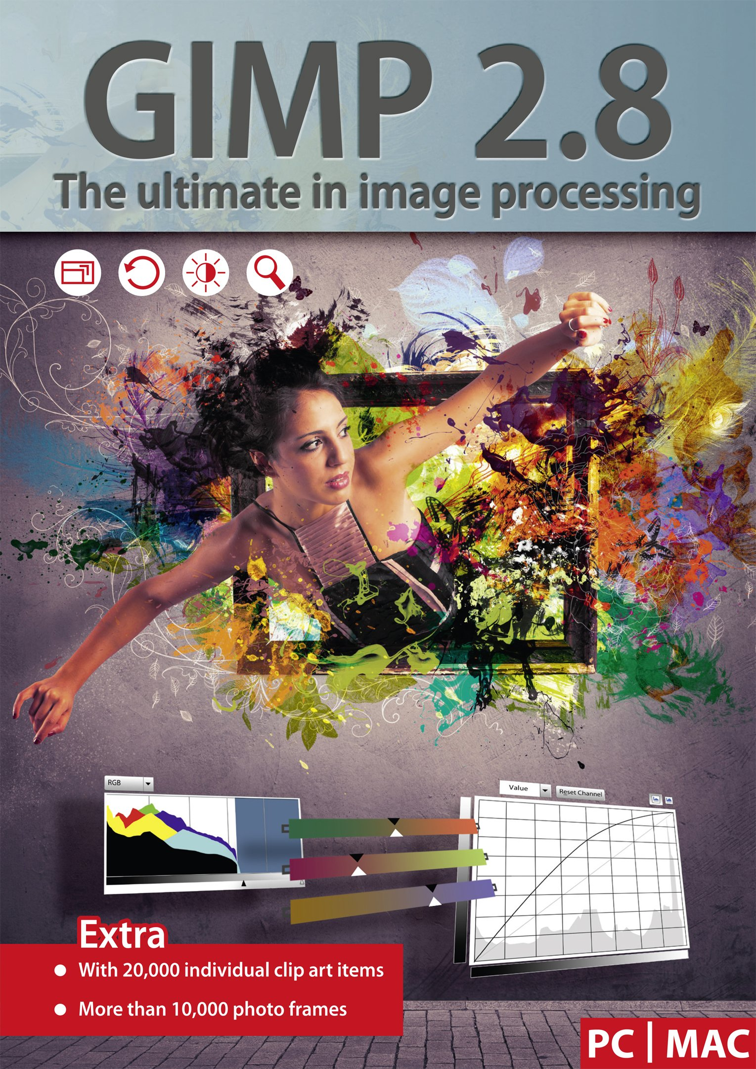 GIMP 2.8 - Ultimate Image Processing - Software Package includes 20,000 Clip Art Items - 10,000 Photo Frames - compatible with Adobe PhotoShop Elements / CS by Markt+Technik