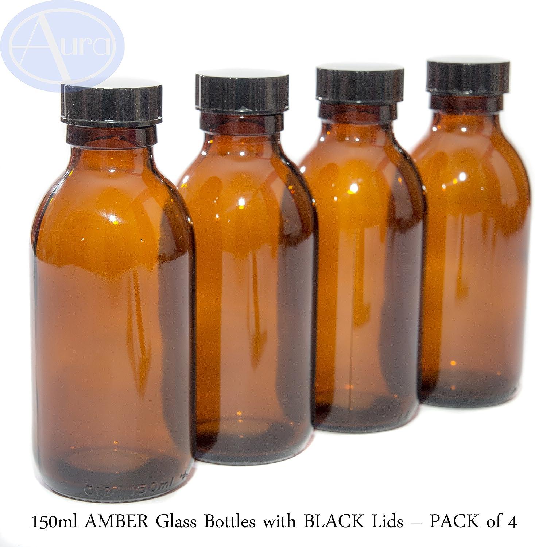 150ml ámbar Botellas De Vidrio Con tapas de color negro–paquete de 4