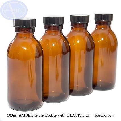 150 ml ámbar Botellas De Vidrio Con tapas de color negro – paquete de 4