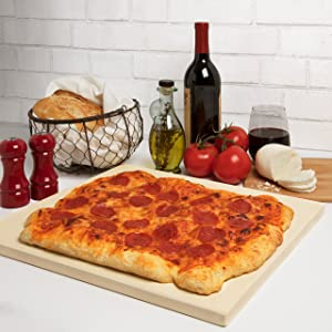 CucinaPro Pizza Stone for Oven, Grill, BBQ- Rectangular Pizza Baking Stone- XL 16