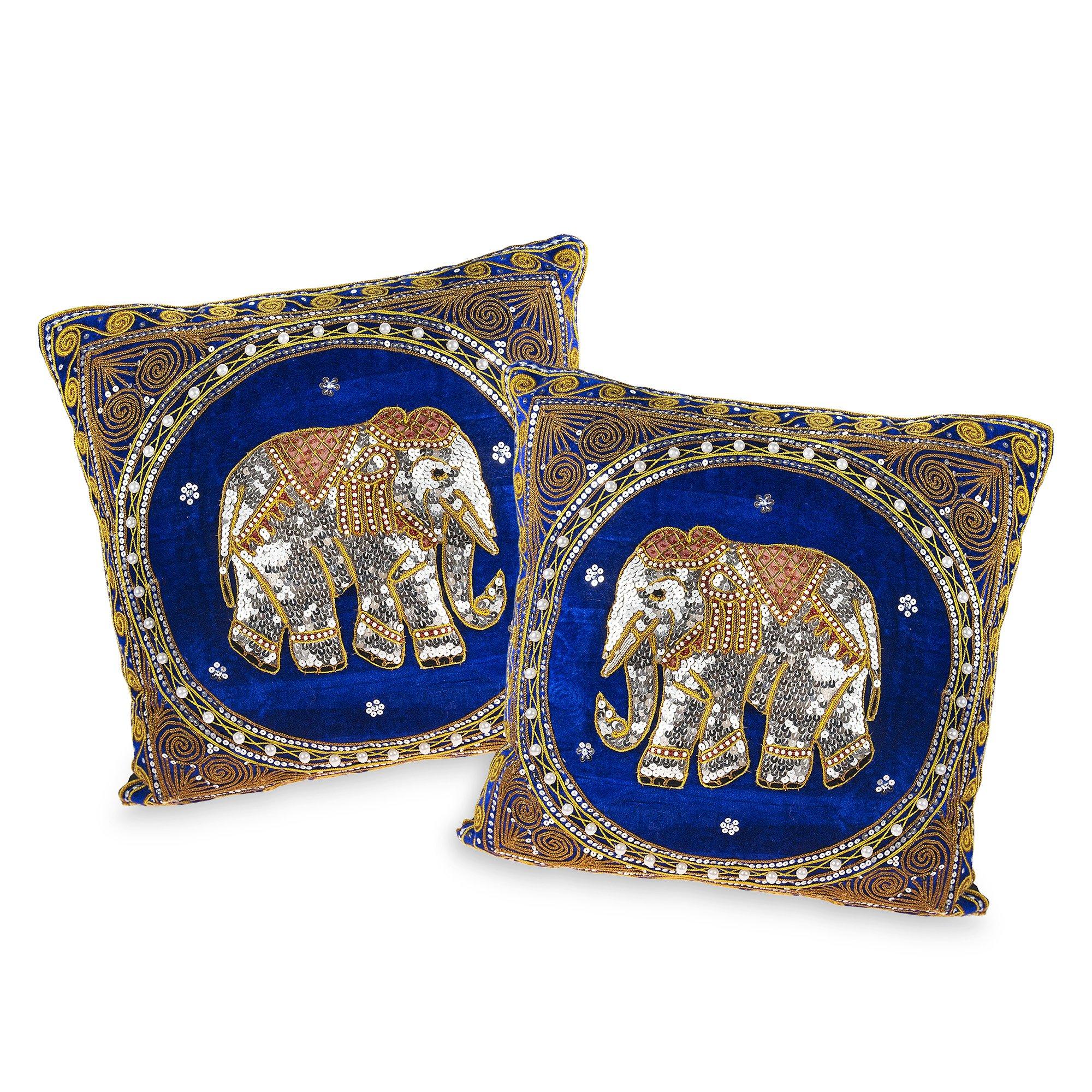 AeraVida Thai Elephant Embroidered Velvet Throw Pillow Cases Set of 2 Blue