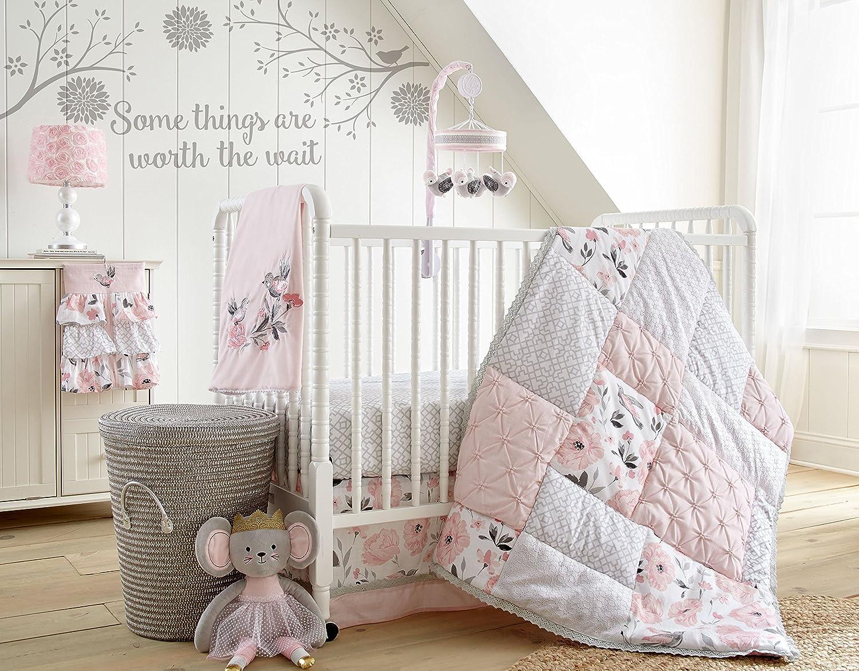 Levtex Baby Eliseグレーとピンク花柄5ピースベビーベッド寝具セット   B077KYQZH5
