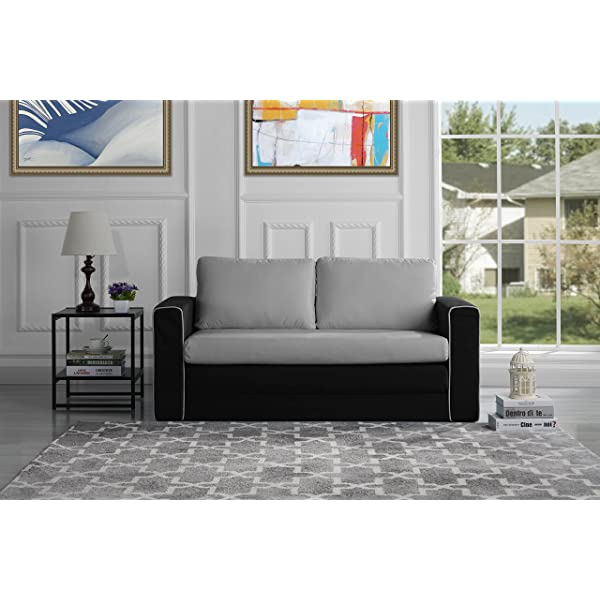 Divano Roma Furniture Modern 2 Tone Modular/Convertible Sleeper (Black/Light Grey)