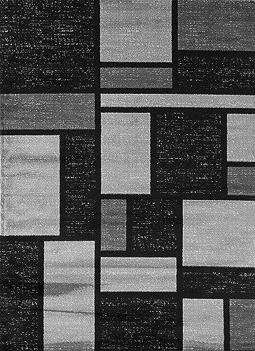 Rugshop Contemporary Modern Boxes Design Area Rug 6 6 x 9 Gray