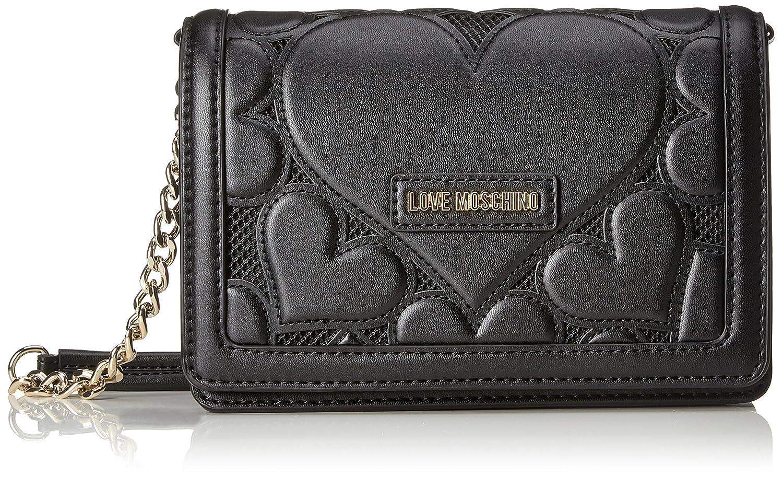 86c25401f0e Love Moschino Borsa Lamb Pu+mesh+twill Nero, Women's Baguette, Black,  7x18x28 cm (B x H T): Amazon.co.uk: Shoes & Bags