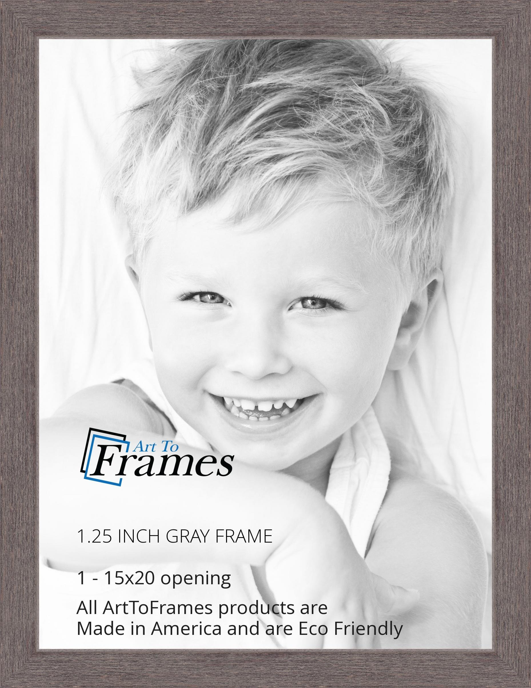 ArtToFrames 15x20 inch Gray Rustic Barnwood Wood Picture Frame, 2WOM0066-77900-YGRY-15x20 by ArtToFrames (Image #2)