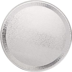 "DCS Deals Multi-Pack of 25 Disposable Aluminum 12"" Round Flat Serving Trays – Perfect Disposable Tray for Vegetable Platters, Slices of Cake, Cookies, Fruit platters and More – 9/16-inch Raised Sides"