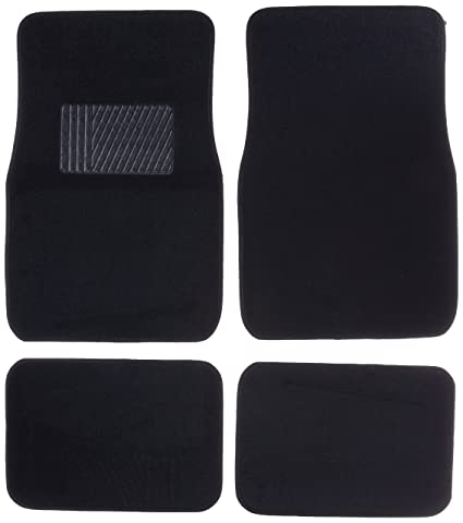 Suv Floor Mats >> Amazon Com Front Rear Carpet Car Truck Suv Floor Mats Black