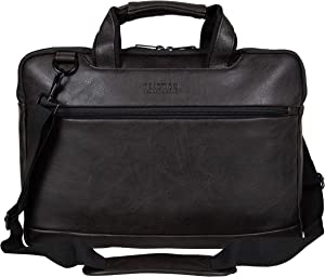 "Kenneth Cole Reaction ProTec Pebbled Vegan Leather Slim 16"" Laptop & Tablet Top Zip Business Briefcase Travel Bag, Brown"