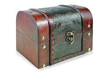 Brynnberg - Caja de Madera Cofre del Tesoro Pirata de Estilo Vintage, Hecha a Mano, Diseño Retro 18x13x13cm: Amazon.es: Hogar