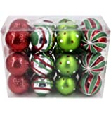 Valery Madelyn 24ct 70mm Classic Collection Splendor Red Green White Shatterproof Christmas Ball Ornaments Decoration, Themed with Tree Skirt(Not Included)
