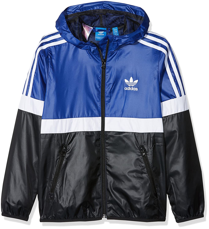 d9f658337086 adidas Windbreaker - J Trf Fl Wb blue white black size  135-140 cm tall - 9  to 10 years  Amazon.co.uk  Clothing