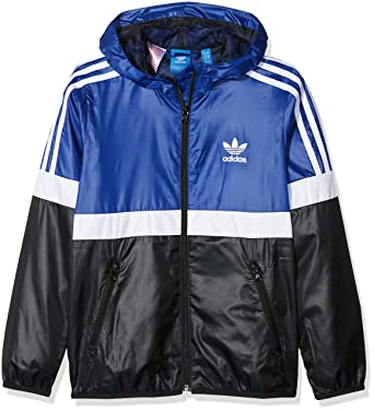 c7f2bc69f3f0 adidas Windbreaker - J Trf Fl Wb blue white black size  135-140 cm tall - 9  to 10 years  Amazon.co.uk  Clothing