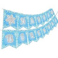 Jollyboom Frozen Happy Birthday Banner for Girls Snowflake Birthday Banner Winter Wonderland Ice Snow Princess Birthday…