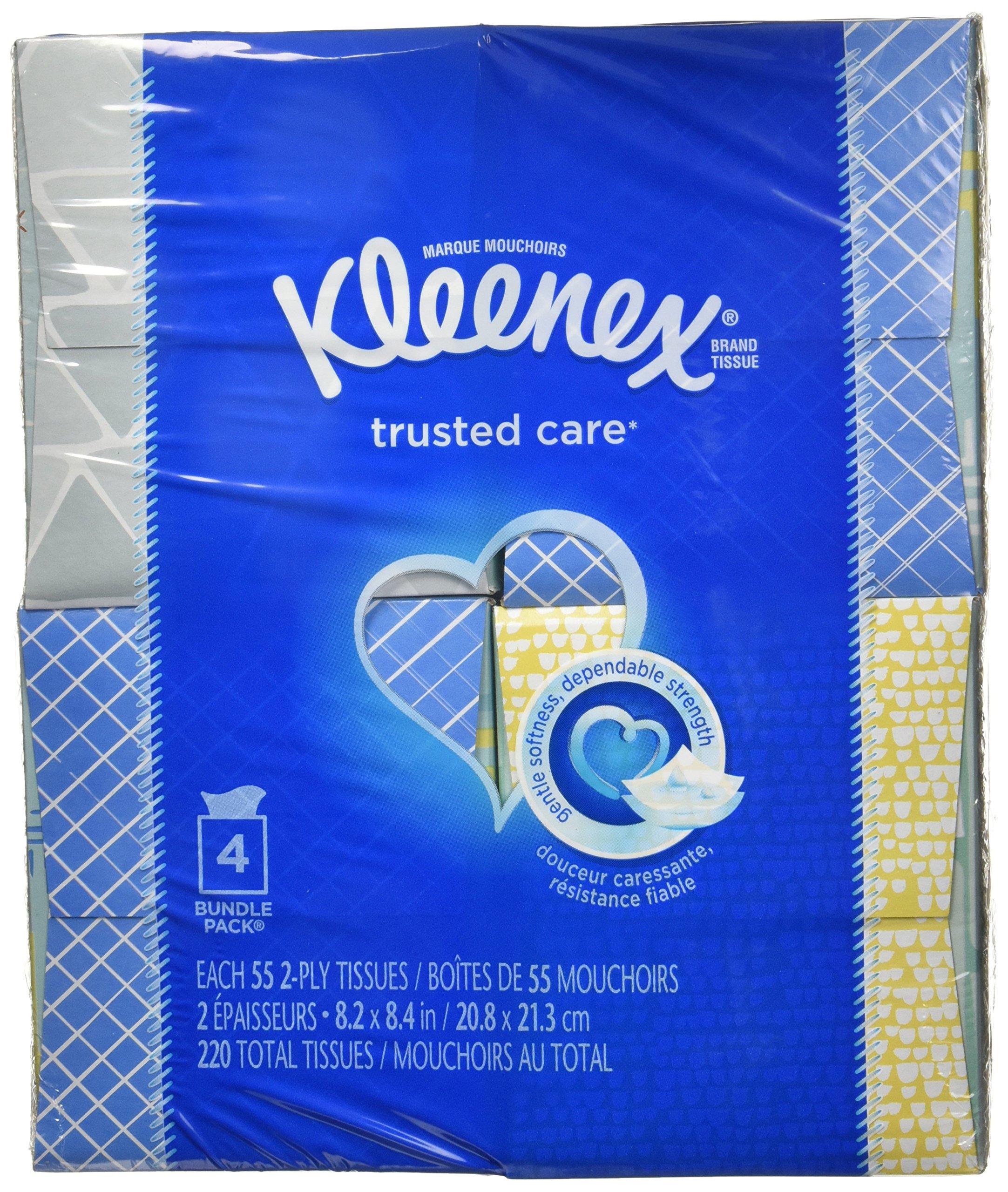 Kleenex Facial Tissue - 55 2-Ply Box, 4 Pack, Designs May Vary