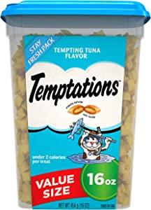 TEMPTATIONS Classic Crunchy and Soft Cat Treats Tempting Tuna Flavor, 16 oz. Tub