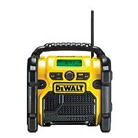 DeWalt Akku- und Netz-Radio/Baustellen-Radio (DAB(DAB(+)/FM Stereo/FM, für 10,8-18 V, 3.5 mm Aux Eingang zum Abspielen externer Geräte, robustes Gehäuse, 1.8 m Kabel), DCR020